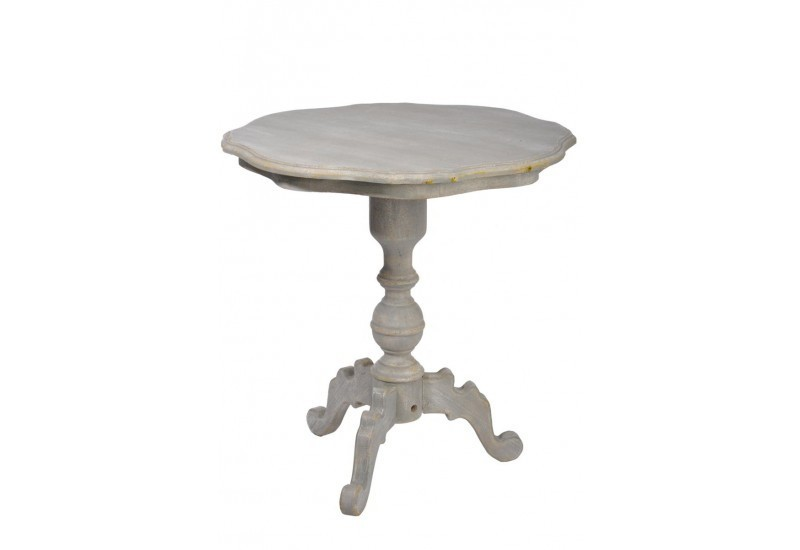 Table ronde bois gris 70x70x74cm j line j line by jolipa 10154 for Petite table ronde bois