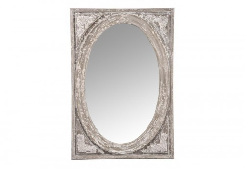Miroir Rectangle Ovale Bois Naturel Wash 64,5X3,5X93,5Cm J-line