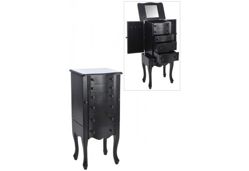 meuble a bijoux carr 6 tiroirs 2 portes bois noir 44x28x92cm j lin. Black Bedroom Furniture Sets. Home Design Ideas