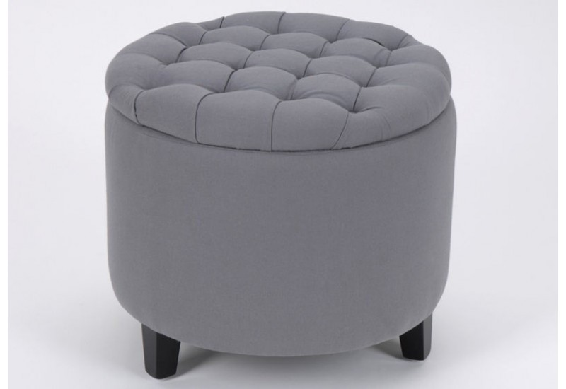 pouf coffre rond gris amadeus amadeus 11324. Black Bedroom Furniture Sets. Home Design Ideas