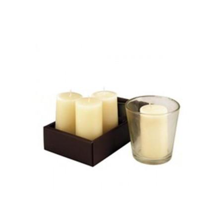 Coffret 4 bougies ivoire + bougeoir verre