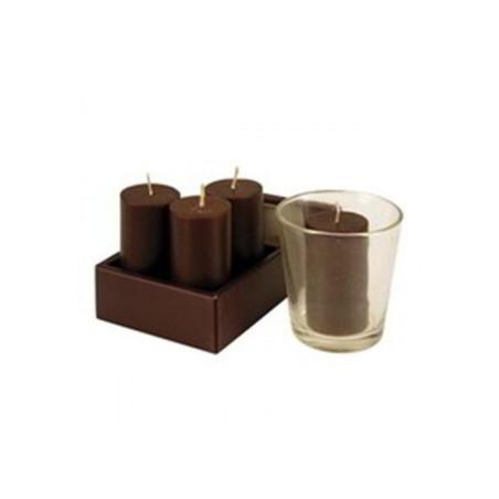 Coffret 4 bougies marron + photophore