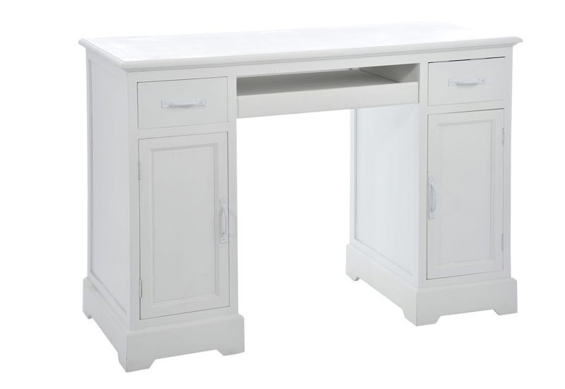 Bureau 2 tiroirs 2 portes bois blanc 120x51x81cm j line j line by