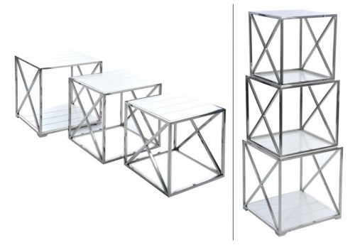 Set 3 Table Cube Métal/Bois Chrome/Blanc 44X44X122Cm J-line