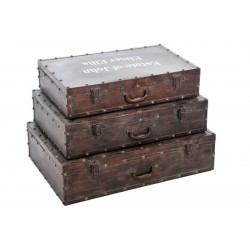 Set de 3 Valises Estate Fer Marron 70X47X18Cm
