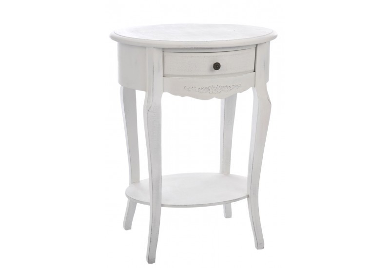Table t l phone ovale 1 tiroir bois blanc 55x43x72cm j - Table de telephone ...