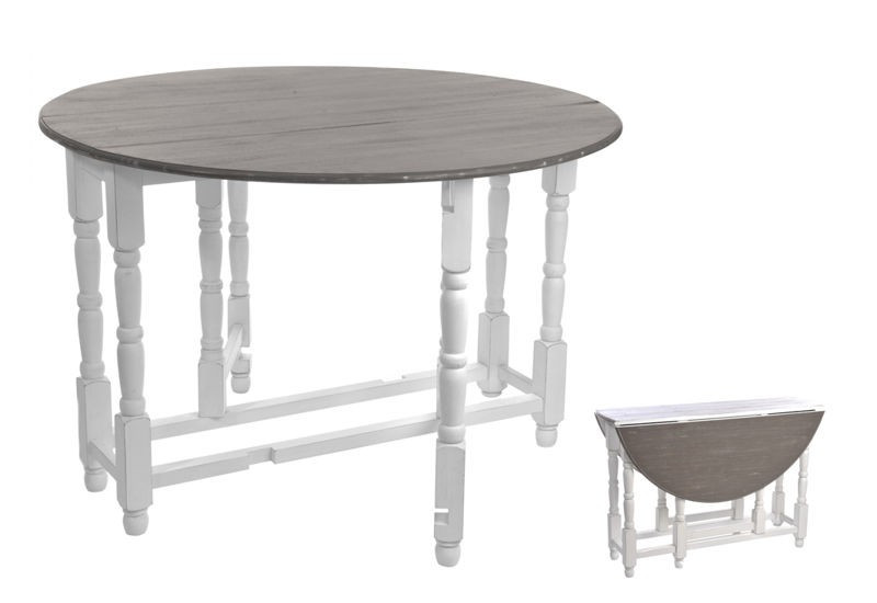Table pliante ronde bois blanc taupe 116x79cm j line j for Table ronde blanc