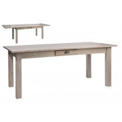 Table Rectangulaire Escamotable Bois Naturel 180X90X79Cm