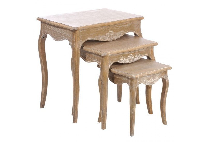 set 3 table gigogne rectangle bois naturel 63x43x65cm j line j line. Black Bedroom Furniture Sets. Home Design Ideas
