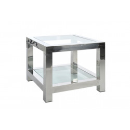 Table d'appoint en Acier Inox et Verre Argent 60X60X50Cm