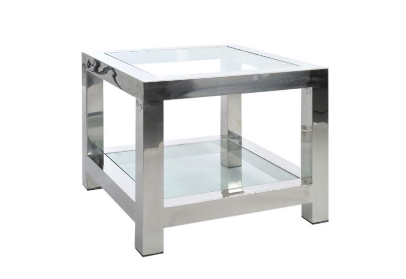 table d 39 appoint en acier inox et verre argent 60x60x50cm j line j l. Black Bedroom Furniture Sets. Home Design Ideas