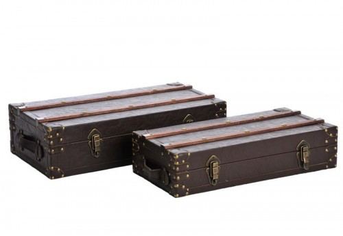 Set 2 Coffres en Bois Marron 63X32X16Cm J-line