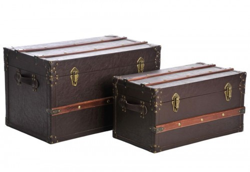 Set 2 Coffres en Bois Marron 70X41X40Cm J-line