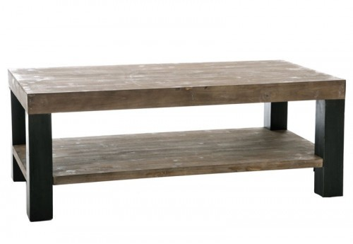 Table Salon Rectangle Bois Naturel et Noir 120X60X45Cm J-line