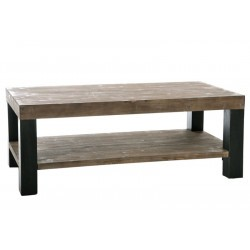 Table Salon Rectangle Bois Naturel et Noir 120X60X45Cm