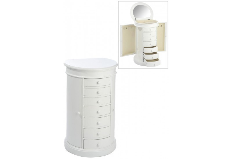 meuble bijoux rond 7 tiroirs 2 portes bois blanc 49x41x80cm j lin. Black Bedroom Furniture Sets. Home Design Ideas