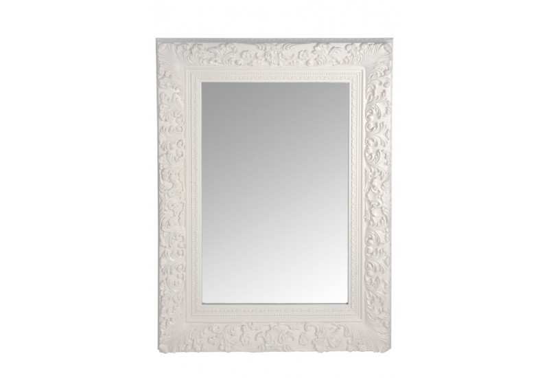 Miroir rectangle baroque bois blanc 95x125cm j line j line for Miroir baroque blanc