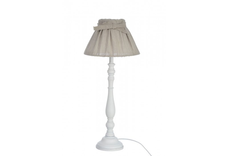 pied de lampe abat jour rond classique bois blanc 13x25x50cm j line. Black Bedroom Furniture Sets. Home Design Ideas