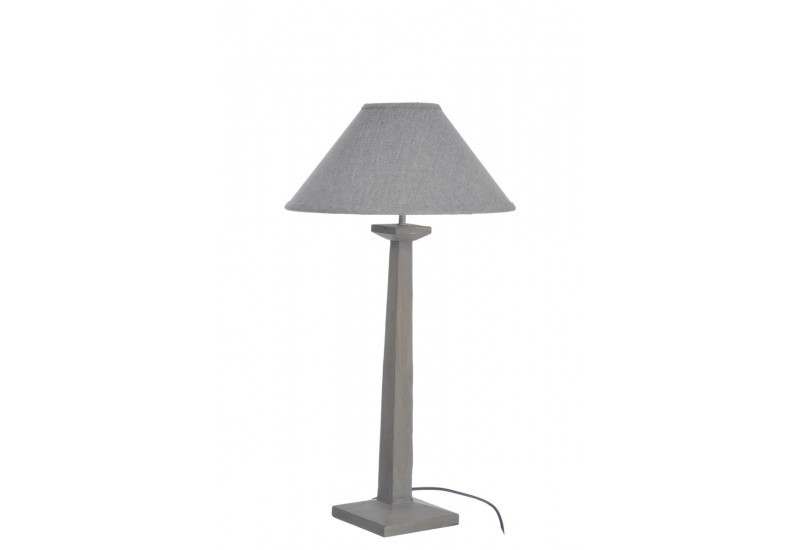 pied de lampe abat jour carre bois gris 12x30x48cm j line j line by. Black Bedroom Furniture Sets. Home Design Ideas