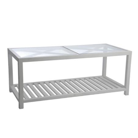 Table Basse Rectangulaire Croix Bois et Verre Blanc 110X50X45Cm
