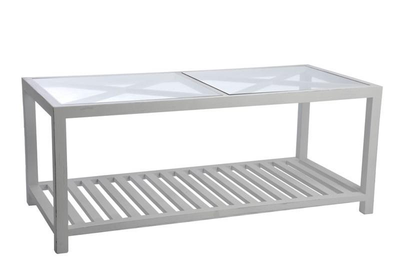 table basse rectangulaire croix bois et verre blanc 110x50x45cm j l