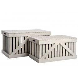 Set de 2 Coffres à Lattes Rectangle Bois Gris 84X44X44XCm