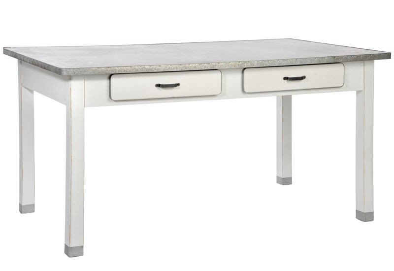 Table rectangle 2 tiroirs bois et zinc blanc 160x90x80cm j for Table cuisine blanche bois