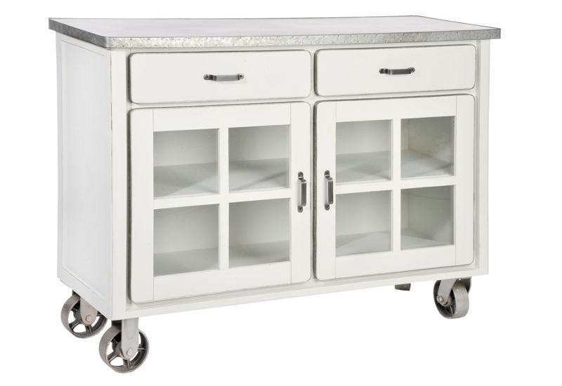 buffet 2 tiroirs 2 portes sur roulette bois et zinc blanc 122x44x90. Black Bedroom Furniture Sets. Home Design Ideas