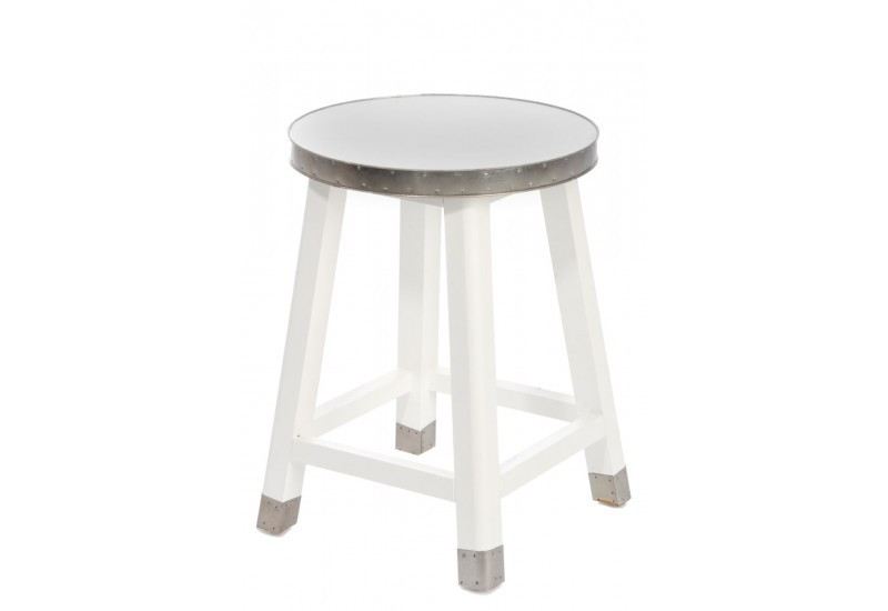 tabouret rond bois et zinc blanc 31x31x48cm j line j line by jolipa. Black Bedroom Furniture Sets. Home Design Ideas