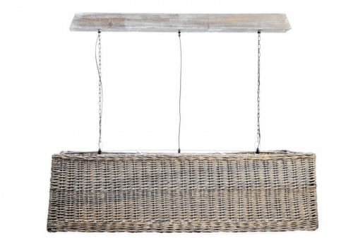 Suspension 3 Attaches Rectangle Rotin  Naturel 140X40Cm J-line