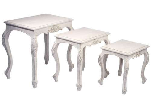 Set de 3 Tables Gigognes Baroque Bois Antique Blanc 59X40X60Cm J-line