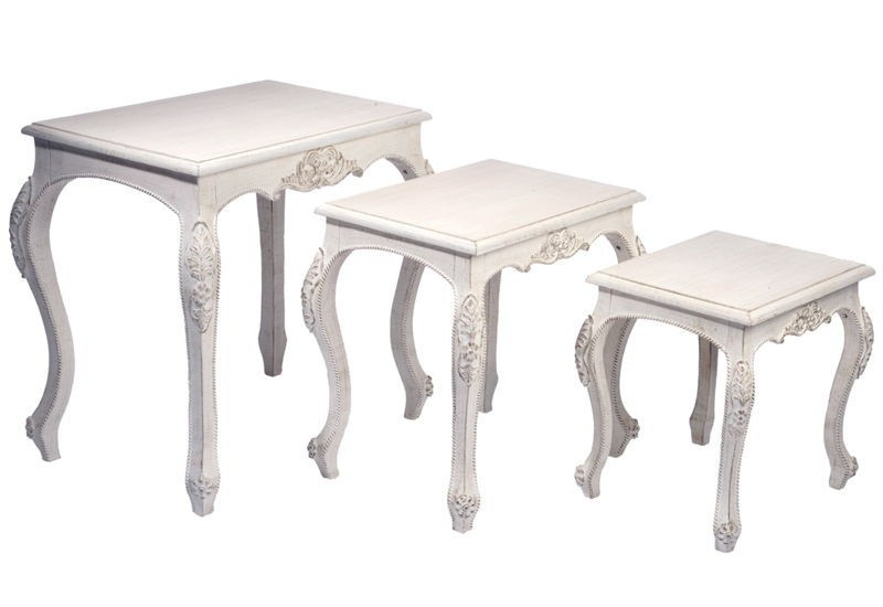 set de 3 tables gigognes baroque bois antique blanc 59x40x60cm j li. Black Bedroom Furniture Sets. Home Design Ideas