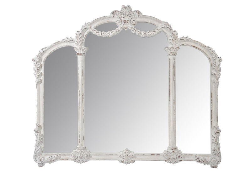 Miroir 3 parties baroque bois antique blanc 139x118x7cm j for Miroir 3 parties