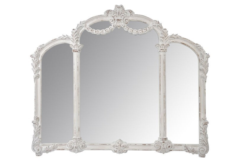 miroir 3 parties baroque bois antique blanc 139x118x7cm j line j li. Black Bedroom Furniture Sets. Home Design Ideas