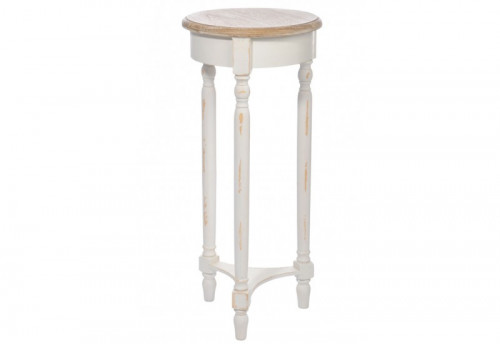 Table gigogne ronde haute bois blanc naturel 35x80cm j for Table haute ronde