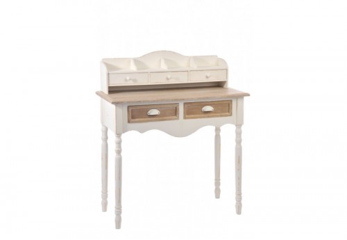 bureau 5 tiroirs bois blanc naturel 90x40x104cm j line j line by jo. Black Bedroom Furniture Sets. Home Design Ideas