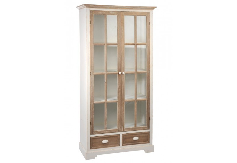 vitrine 3 plateaux 2 portes 2 tiroirs bois verre blanc naturel 90. Black Bedroom Furniture Sets. Home Design Ideas