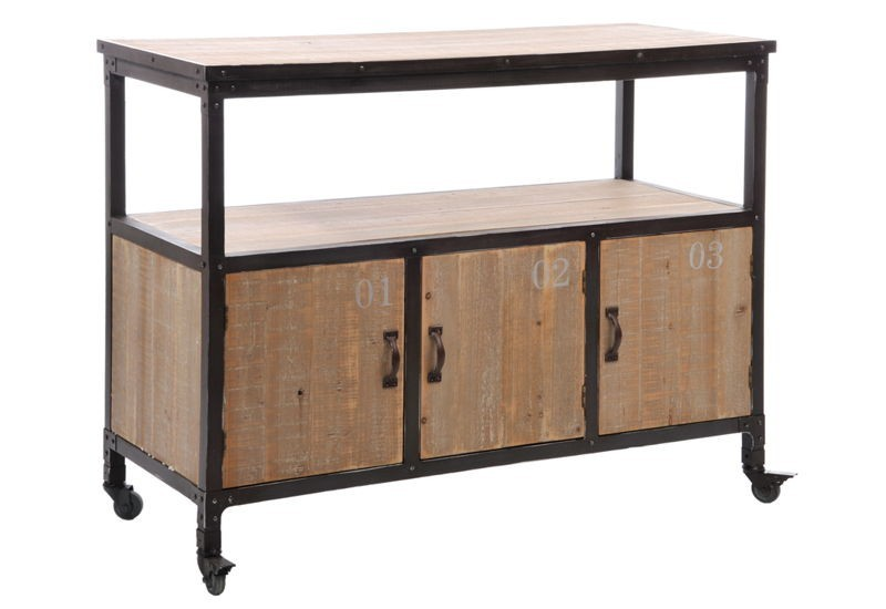 latest meuble roulettes portes loft boismtal naturelnoir xxc with meuble cuisine 110 cm. Black Bedroom Furniture Sets. Home Design Ideas