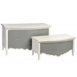 Set de 2 Coffres Cannel Bois Gris/Blanc 95X45X54Cm