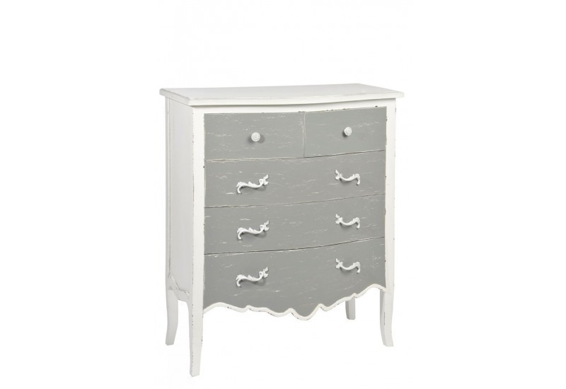 commode 5 tiroirs bois gris blanc 80x40x91cm j line j line by jolip. Black Bedroom Furniture Sets. Home Design Ideas