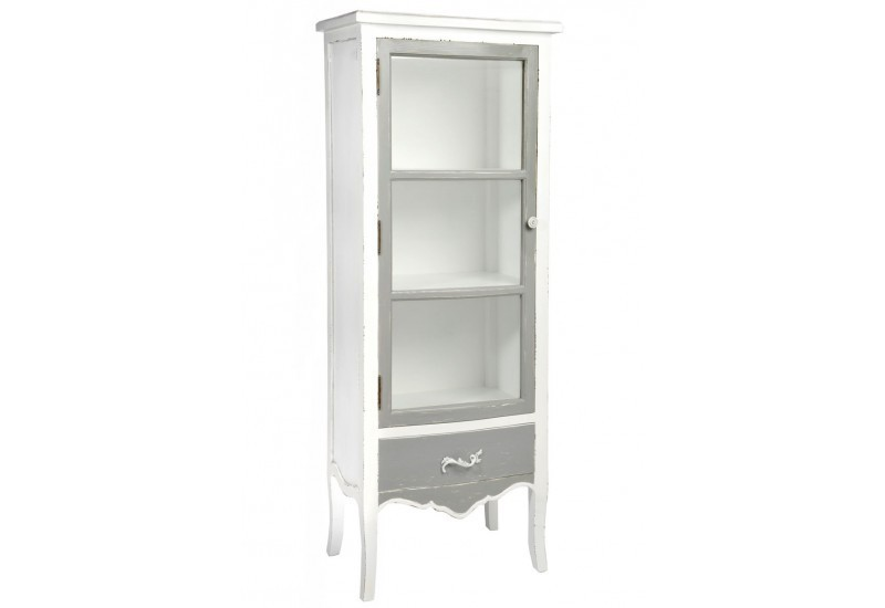 vitrine 2 plateaux 1 tiroir bois verre gris blanc 55x38x141cm j lin. Black Bedroom Furniture Sets. Home Design Ideas