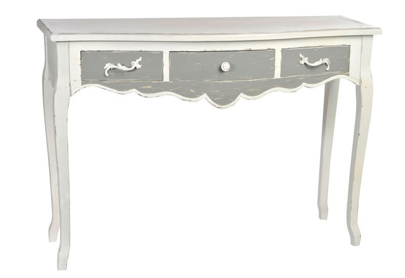 console 3 tiroirs bois gris blanc 115x39x82cm j line j. Black Bedroom Furniture Sets. Home Design Ideas