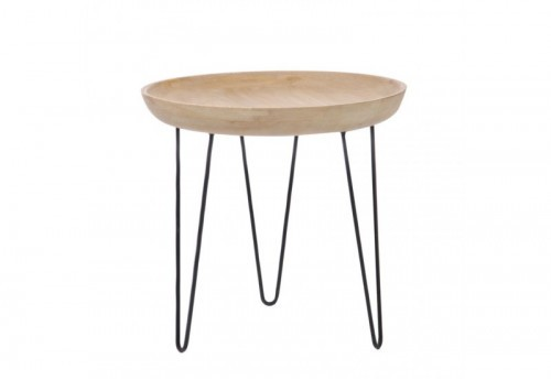 Table Plateau Ronde Bois Naturel 40X38Cm J-line