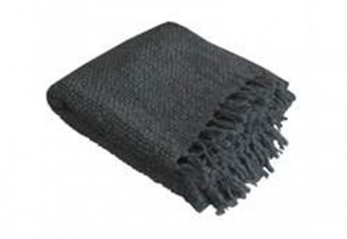 Plaid maille tricotée bobo anthracite 130x150