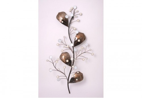 Branche 4 Feuilles + Boules Blanches SOCADIS