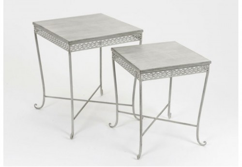 Set De 2 Tables Gigognes Grises Frise AMADEUS