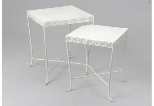 Set De 2 Tables Gigognes Blanches Frise AMADEUS