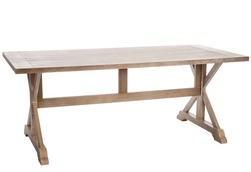 Table manger rectangle croix bois naturel200x95x78cm for Table a manger en bois brut