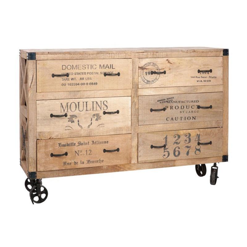 commode roues 6 tiroirs bois naturel 150x40x104cm jolipa j line b. Black Bedroom Furniture Sets. Home Design Ideas