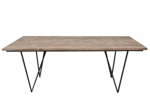 Table A Manger Rectangle Bois Naturel 200X90X75Cm Jolipa